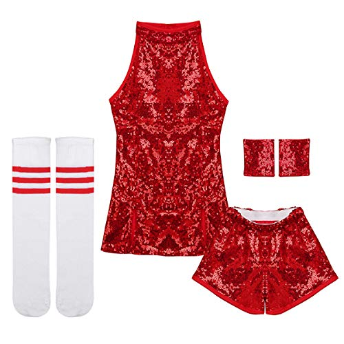 Tiaobug Mädchen Cosplay Kostüm Set Tanzkleid Outfits ärmellos Top + Hot Pants + Armband + Socken Kinder Hip-Hop Jazz Cheer Leader College Strümpfe Rot 110-116/5-6 Jahre (Top College Mädchen Kostüm)