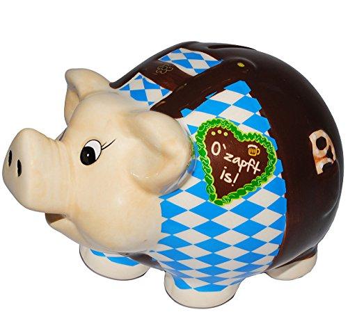 alles-meine.de GmbH XL Spardose -  Oktoberfest - O´zapft is !  - stabile Sparbüchse aus Porzellan / Keramik - Sparschwein - für Kinder & Erwachsene / lustig witzig - Reisekasse..