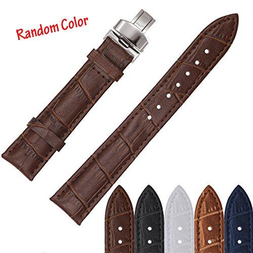 Echtes Leder Uhrenarmband Schwarz Weich Bereitstellung Verschluss Schnalle Band Armband Ersatz geprägt Getreide Klassisches Design (zufällige Farbe 、 22mm) (Leder-bereitstellung Uhrenarmbänder)