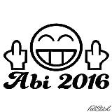 Abi 2016 Aufkleber FUN Smiley Shocker Abitur Heckscheibenaufkleber (WEISS)