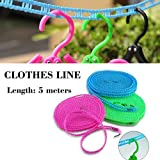 #2: Japan House 5 Meters Windproof Anti-Slip Clothes Washing Line Drying Nylon Rope with Hooks