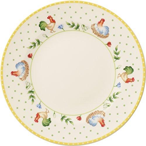 Villeroy & Boch Spring Awakening Assiette petit-déjeuner Motif coq et poule, Premium porcelaine, multicolore