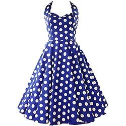 DATO 50s Retro Rockabilly Hepburn Lunares Vestido Delgado Grande del Tutú de la Falda