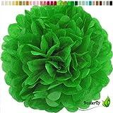 10 Papier Pompons 25cm SET ( grün 580 ) // PomPoms Bommel Kugel Seidenpapier Pom Pom Deko Hängedeko Raumdeko Blumen