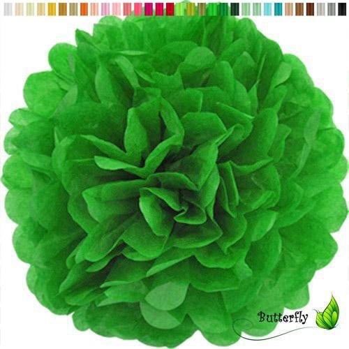 cm SET ( grün 580 ) // PomPoms Bommel Kugel Seidenpapier Pom Pom Deko Hängedeko Raumdeko Blumen ()