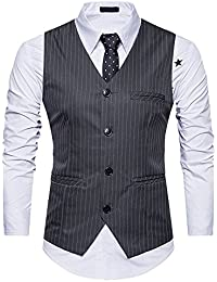 32304a660e9 OEAK Gilet Costume Hommes Veste sans Manches Vintage Classique Gilet  Ensemble Waistcoat Suit Slim Fit pour