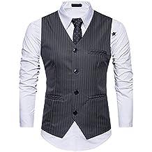 4397b577bc09c OEAK Gilet de Costumes Homme Rayures Slim Fit Casual Vintage Business