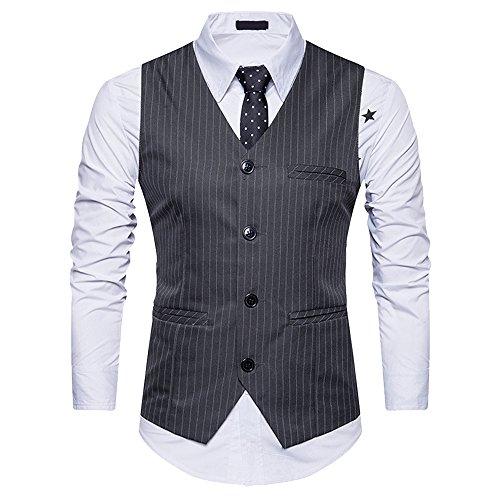 Youthny Herren V-Ausschnitt Anzugweste mit Streifen Einreiher 4 Knöpfe Elegant Smoking Weste Business Party Hochzeit