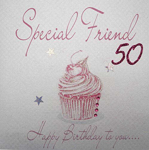 Special Friend 50 card. Hand finished with diamantes, glitter