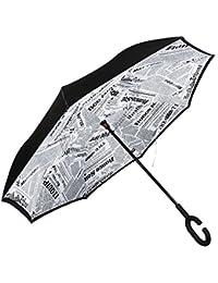 Paraguas Invertido. Paraguas Inverso Original Reversible de Colores de Mujer y Hombre Antiviento para Coche