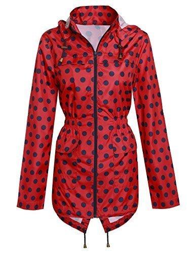 Damen Mit Kapuze Wasserabweisend Regenjacke Gepunktet Mac Parka Mit Schwalbenschwanz Fest - Damen, Rot - Marineblau, 46