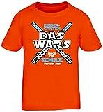 Einschulungsgeschenk Erstklässler Schulkind Kinder T-Shirt Laserschwert - Kindergarten Das Wars, Größe: 152/164,Orange
