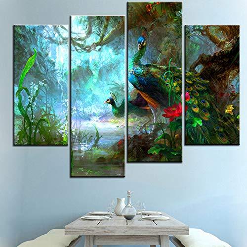 Ren&nnnn Deux Paons Marchant dans La Forêt Combinaison De Peinture Latérale sans Cadre, Peinture Décorative, 20X40X2 20X60X2