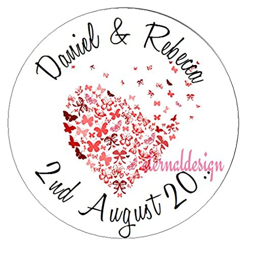 Eternal design 140 x 25mm personalised wedding white stickers wdcs 32