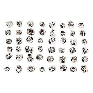 RKC Charms 5 to 100 PCS Antique Silver Plated NICKEL + LEAD FREE Oxidized Metal Beads Charms Set Mix Lot - Compatible with Pandora Biagi Troll Chamilia Bracelets