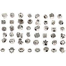 RKC - Lote de Charms, de 5 a 50 piezas, chapado en plata envejecido, LIBRE DE NÍQUEL Y PLOMO, cuentas de metal con aspecto oxidado. – Compatible con pulseras y collares Pandora, Biagi, Troll Chamilia [Reino Unido], Aleación, Silver Black, 5mm - 20mm