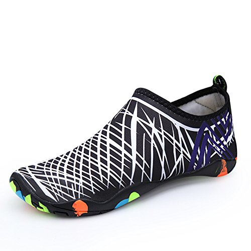 Santiro Unisexe Chaussures de Sport Aquatique Chaussons de Surf/Plong¨¦e/Plage Piscine Beach Natation Gym Yoga les Amants de Skin Shoes.SSD009W1-4XL