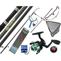 COMPLETE STARTER FISHING TACKLE SET KIT WITH HUNTER PRO® ROD REEL TACKLE & NET