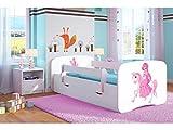 Kocot Kids Kinderbett Jugendbett 70x140 80x160 80x180 Weiß mit Rausfallschutz Matratze Schublade und Lattenrost Kinderbetten für Mädchen und Junge - Prinzessin auf dem Pony 180 cm