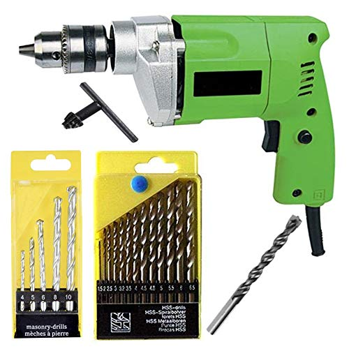 Shree Jee Traders 10 mm Drill Machine with Bit Tool Kit (13HSS and 5 Masonry Bits)