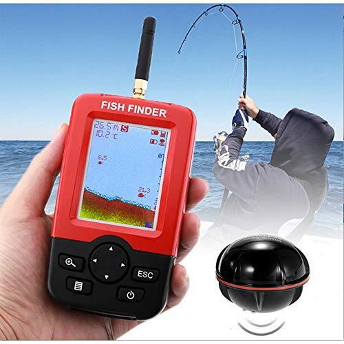 Nianzhiqianღ Fischfinder, intelligenter tragbarer Tiefenfinder, mit Farbdisplay, 100 m, kabelloser Unterwassersonar-Sensor, LED-Hintergrundbeleuchtung