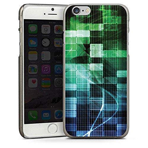 Apple iPhone 4 Housse Étui Silicone Coque Protection Carré Bandes Matrix CasDur anthracite clair