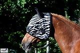 Zebra Fliegenmaske Fliegenschutzmaske Fliegenhaube mit oder ohne Ohren Mini Shetty MS S P VB WB X Full Tysons mit leichtem Gummizug (MIT Ohren, Pony)