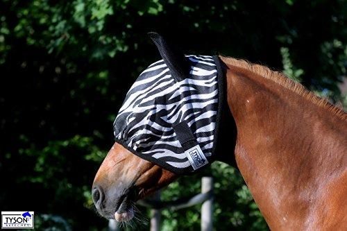 Zebra Fliegenmaske Fliegenschutzmaske Fliegenhaube mit oder ohne Ohren Mini Shetty MS S P VB WB X Full Tysons mit leichtem Gummizug (MIT Ohren, Vollblut)