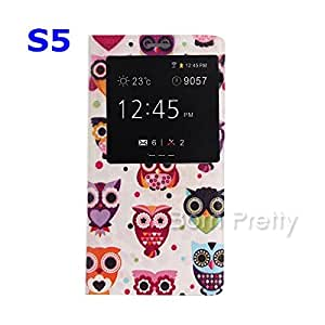 GENERIC Colorful Big Eyes Owl Pattern Folding Visible Screen Leather Case For Samsung Galaxy S5 # 16355