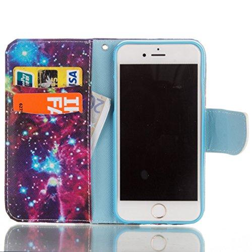 Handyhülle für Apple iPhone 6/6s 4.7 Zoll, Ekakashop Ledertasche Schutzhülle im Bookstyle für iPhone 6s, Rote Feder Muster Leder Tasche Handytasche Zubehör Portemonnaie mit Kartensteckplätze für iPhon sternenklar