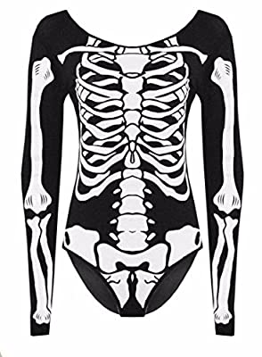 New Women's Girls Halloween Skeleton Dress Bodysuit Plus UK Size 8-22
