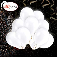 AGPTEK 40 PCS Ballons LED Blanc Ballons Lumineux 3 Mode d'Eclairage, Décoration Lumineuse pour Anniversaire Mariage Fête et Soirée-Q03 LED Blanc