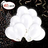 AGPTEK 40 x Globos Blancos Led, 3 Modo de Parpadeo, 12pulgadas (30 cm) de Látex, para Cumpleaños,...