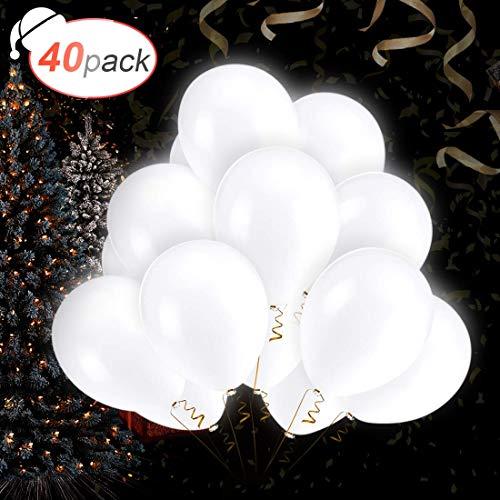 AGPTEK 40 x Globos Blancos Led, 3 Modo de Parpadeo, 12pulgadas (30 cm) de Látex, para Cumpleaños, Decoración de Boda, Fiesta, Partido Comunión, etc