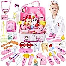 HERSITY 35 Pezzi Valigetta Dottore Bambini Kit Dottoressa Gioco Dottore Medico Giocattolo con Luci e Suono Regalo per Bambina 3 4 5 Anni Rosa