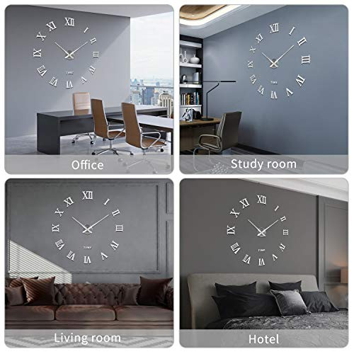 516 YXbl5OL - SOLEDI Reloj de Pared 3D, DIY Reloj de Etiqueta de Pared Decoraciš®n Ideal para la Casa Oficina Hotel Restaurante, llenado Pared Vacšªa 3D Reloj (Plata)
