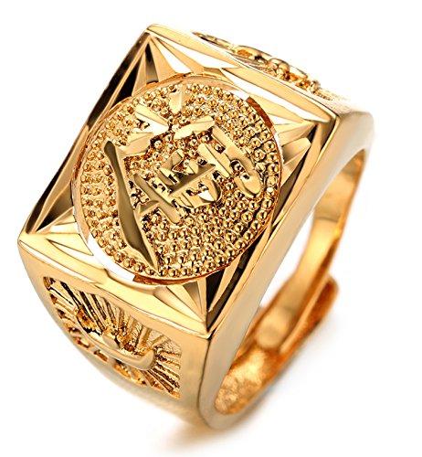 """Halukakah """"GOLD BLESS ALL"""" Hombre 18K oro chapado rotativo KANJI anillo LUCK tamaño ajustable con GIftbox GRATIS"""