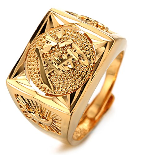 Halukakah Oro Bendiga Todo Hombres Anillo Chapado en 18K Oro Real Rotativo Suerte Tamaño Ajustable con CajaDeRegaloGRATIS