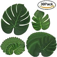 HTIANC 30 piezas Monstera, Hoja verde planta, Hoja artificial tropical, para playa fiesta temática/Fiesta de Hawaii(tamaño S/L)
