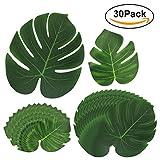 30Piezas Hoja verde planta HTINAC, Suave Hojas Tropicales Decoración de la Tienda de la Fiesta en Casa de Monstera para Playa Fiesta Temática/Fiesta de Hawaii