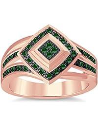 Silvernshine 1.35Ctw Round Cut Green Garnet Sim Diamonds 14K Rose Gold Plated Engagement Ring