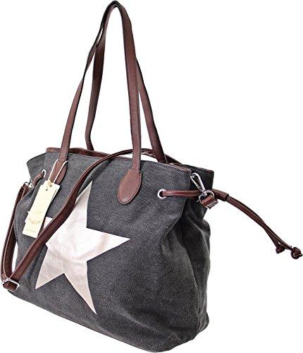 XXL-TASCHE Raumwunder die perfekte City Damen-Umhängetasche Schulter Tasche Messenger Bag Neu weiblich lässige Canvas Tasche Henkeltasche Beuteltasche Tragetasche modisch neu (Blue) Black