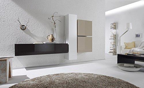 Sodani parete attrezzata mobili salotto 4 mobili sospesi 225x31x139cm boost bianco e antracite e beige