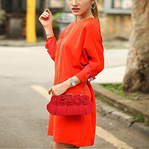 TrendStar Damen Entwerfer Satin Kupplungs Tasche Abschlussball Partei Abend Kupplungs Tasche Rot