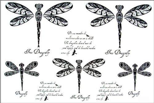 Dernières nouvelles 2012 de conception nouvelle version de tatouage autocollants imperméables modèles féminins en noir et lettres blanches Libellules verts totem de tatouage faux