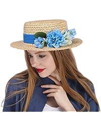 DIMDIMMY - Tocado de Paja para Mujer, Sombrero con Diseño de Flor de Marfil, para Bodas, Natural, 56-58CM