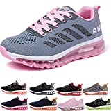 Homme Femme Air Baskets Chaussures Gym Fitness Sport Sneakers Style Running Multicolore Respirante Gray Pink 40