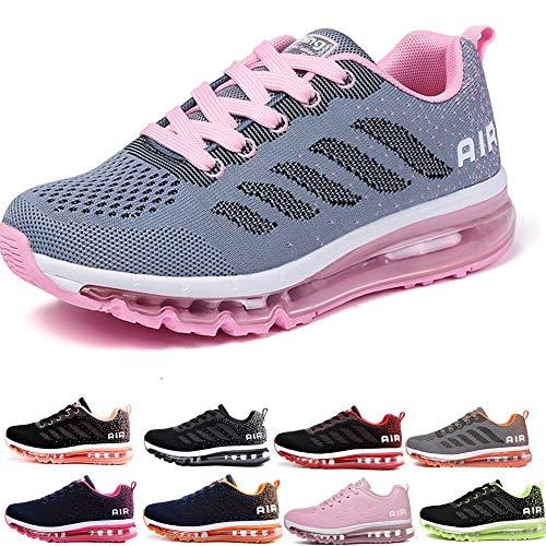 frysen Herren Damen Sportschuhe Laufschuhe mit Luftpolster Turnschuhe Profilsohle Sneakers Leichte Schuhe Gray Pink 40