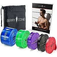 BERRY & CONE Fitness Bandas + E de portatil con 50Ejercicios y bolsa de transporte   en 5diferentes grosores   para tu Workout–Stump Straps–calist henics y yoga, BLUE - berry, medium