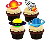 Spaceship, Rocket and Planets, Colourful Space Edible Cake...